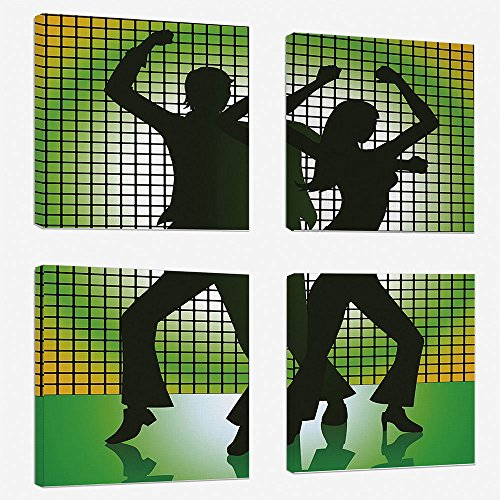 4 Pcs/set Modern Painting Canvas Prints Wall Art For Home Decoration 70s Party Decorations Print On Canvas Giclee Artwork For Wall DecorSilhouette Illustration of Couple Dancing in Disco Decorative-Li