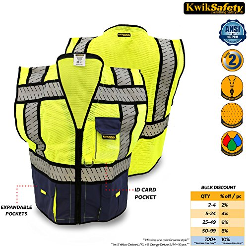 Breakaway Hi Vis Safety Vest (KwikSafety Class 2 Blue Fishbone Safety Vest | Hi Vis Mesh Heavy Duty Zipper & Expandable Multiple Pockets | Men Women ANSI Certified High Visibility Motorcycle Construction Security Wear | S/M)