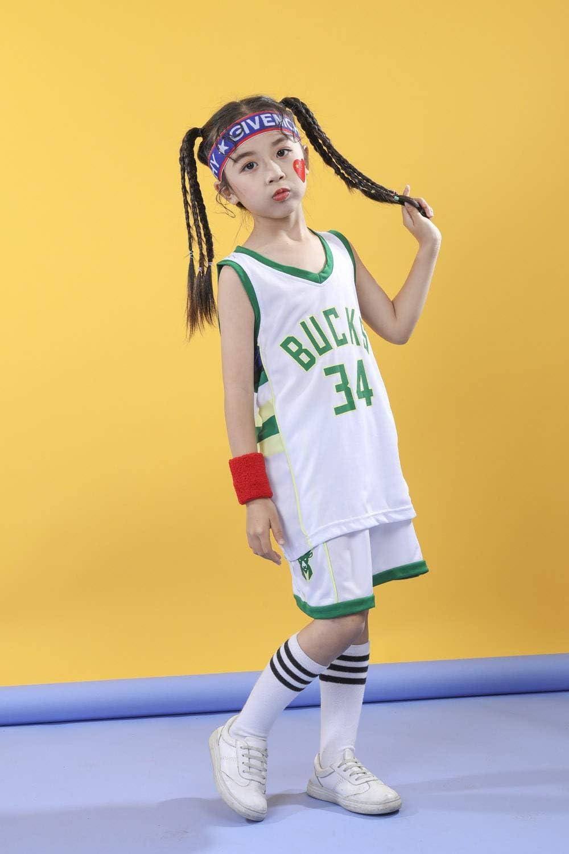 Rying Basketball Trikots Set f/ür Kinder Milwaukee Bucks #34 Adetokounmpo Basketball-Shirt Weste Top Sommershorts f/ür Jungen und M/ädchen