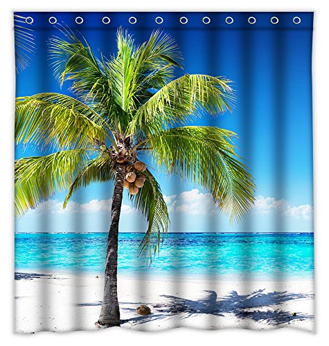 (Homeshiny Blue Sky Beach Palm Tree Shower Curtain, Bath Decorations Bathroom Decor Sets with Hooks Gifts for Men and Women in Art Print Waterproof Polyester Fabric, 72
