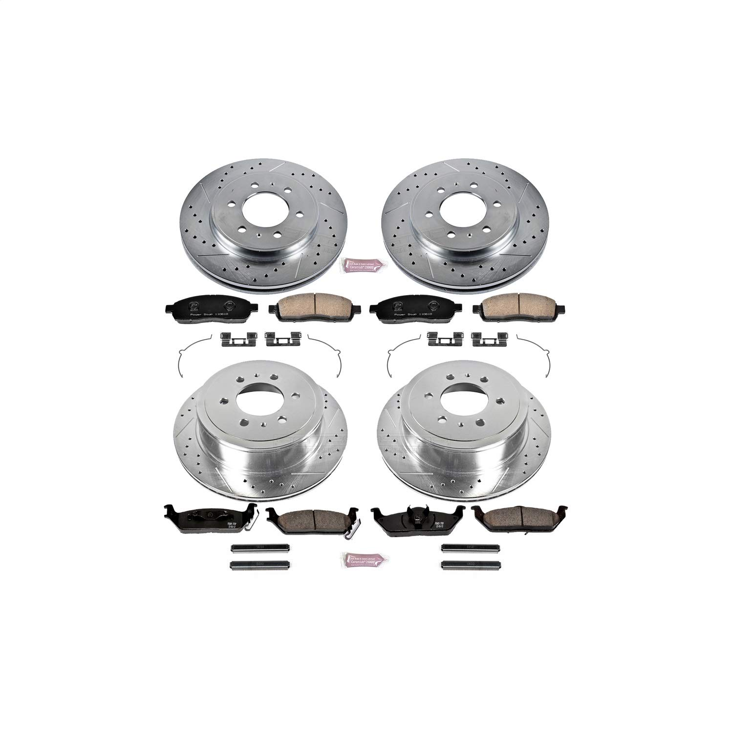 Power Stop K5335 Front /& Rear Brake Kit with Drilled//Slotted Brake Rotors and Z23 Evolution Ceramic Brake Pads