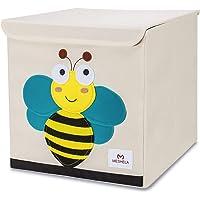 Meshela Boîte de Rangement Enfants Grande Coffret Capacité Pliable Dessin Animé sur Toile Cube Organiseur pour Vêtements/Chaussures/Jouets 33x33x33CM