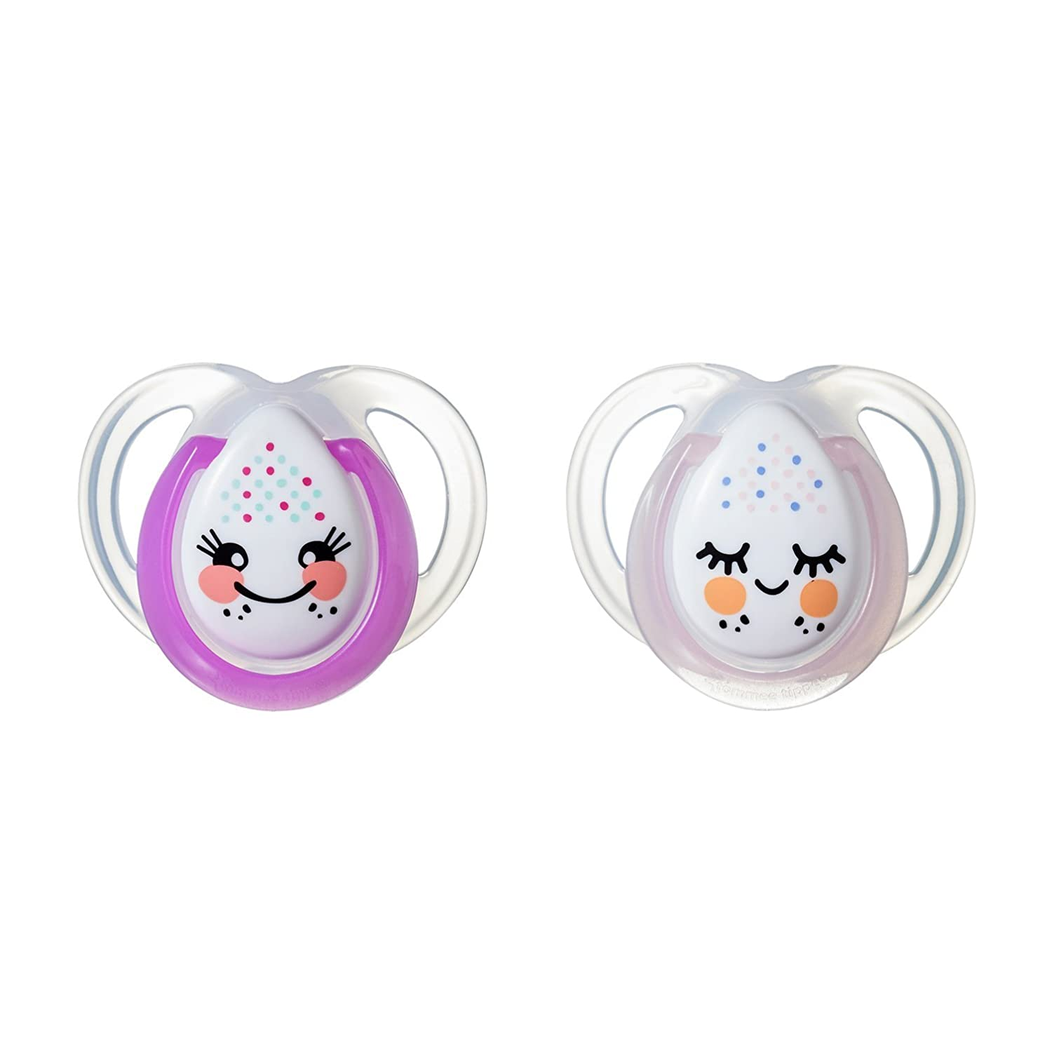Tommee Tippee Closer to Nature Night Time Newborn Baby Pacifier, 0-6 Months - Girl, 4 Pack