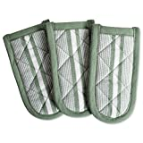 DII 100% Cotton, Machine Washable, Chef Stripe Quilted Pan Handle, Heat Resistant Everyday Kitchen Basic, Set of 3, Artichoke Green
