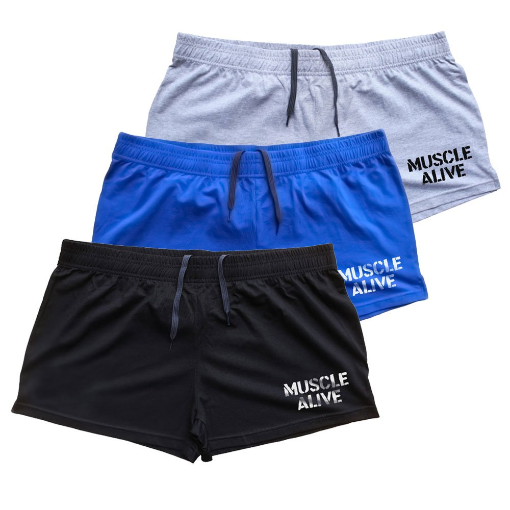 MUSCLE ALIVE Mens Bodybuilding Shorts 3'' Inseam Cotton Size M Black Blue and Gray with Logo 3 Packs