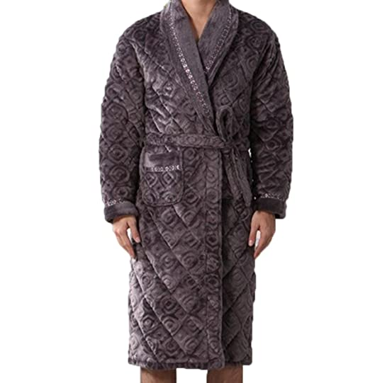 Flannel Winter Warm Thickening Cotton Men s Nightgown Bathrobe Long Sleeve V -neck Home Service Pajamas 05a78c48d