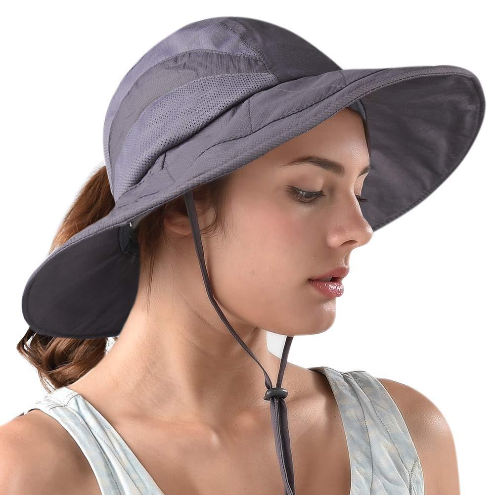 Amazon.com   FURTALK Safari Sun Hats for Women Wide Brim UV UPF Ponytail  Outdoor Hunting Summer Fishing Hiking Hat   Sports   Outdoors d5642a33dd4