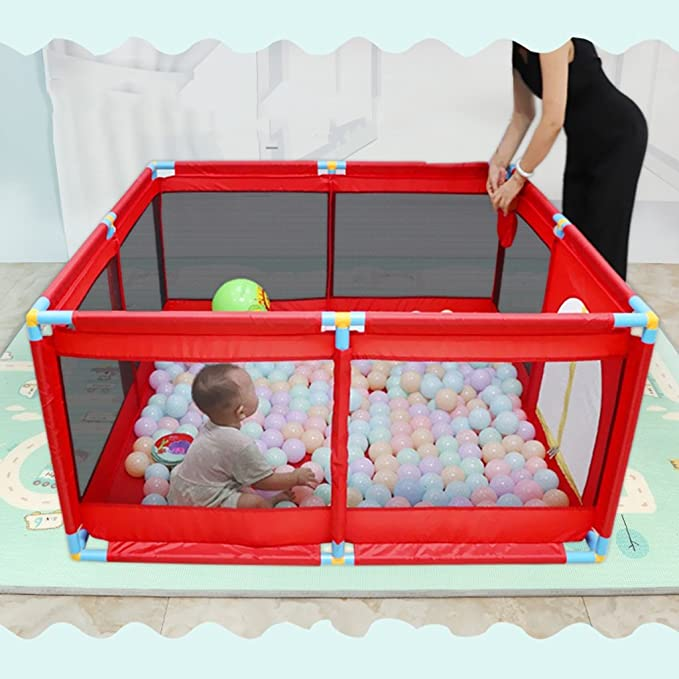 Baby Activity & Entertainment Childrens Play Fence Home Childrens Play Fence Baby Toddler Fence Toy Play Fence Baby Ball Pool Furniture Fence Without Ball Color : Red, Size : 128 * 128 * 66cm