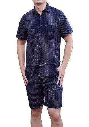 b0d802a22b2e YOUMU Men Hip-Hop Short Sleeve Striped Romper Suit Jumpsuit Playsuit  Overalls One Piece