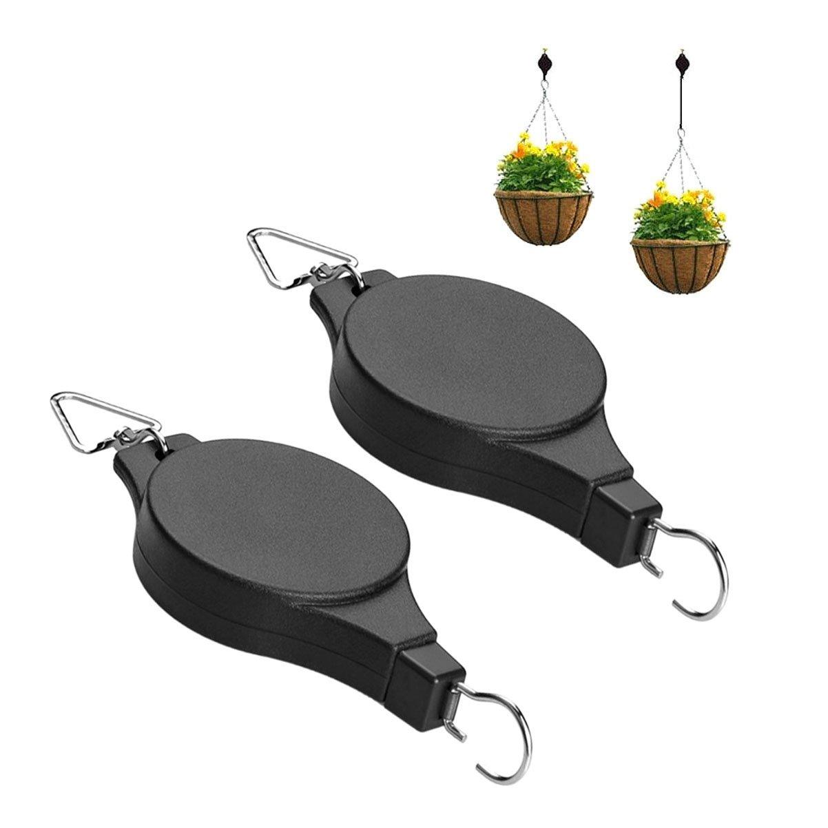 Numblartd 2 Pcs Black Retractable Plant Pulley Flower Basket Hook - Adjustable Telescopic Hook for Hanging Basin Chlorophytum Flower Pot Birdcage - Home Gardening Decoration Supplies