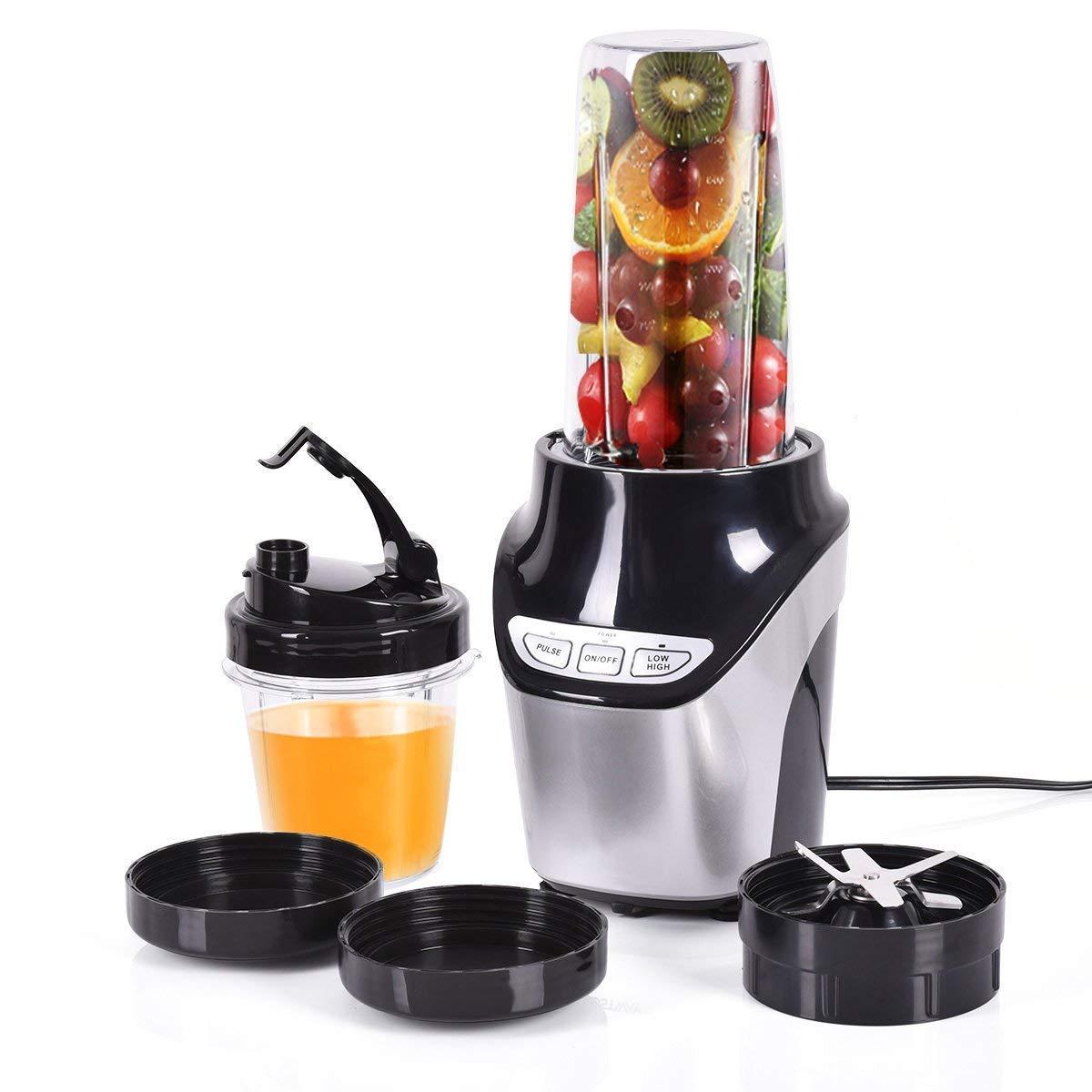 Safeplus VD-42124KC 1000 W Electric Fruit Vegetable Juicer Blender Grinder Machine with 2Bottles 2-Speed, 15.6 x 6.5 x 14.8 in, Silver