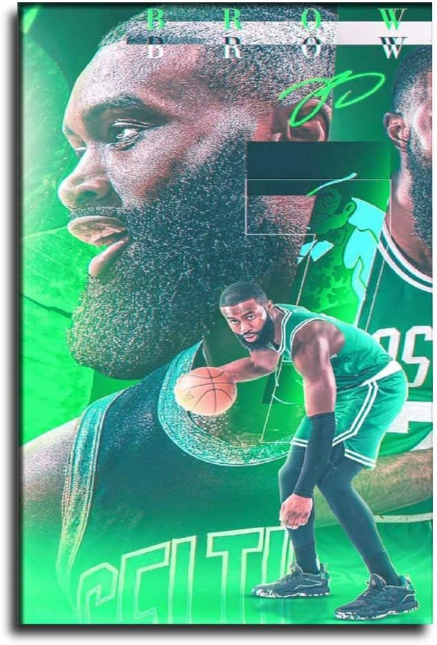 GDFG Boston Celtics Basketball Player Jaylen Brown Canvas Art Poster and Wall Art Picture Print Modern Family Bedroom Decor Posters 08×12inch(20×30cm)