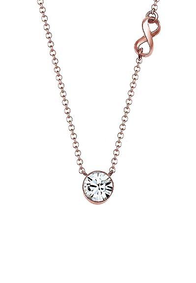 Elli Women's 925-Sterling Gold Plated Xilion Cut Zircon Necklace with Pendant of Length45cm UN6QE