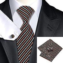 SN-993 Black White Striped Tie Hanky Cufflinks Sets Men's 100% Silk Ties for men