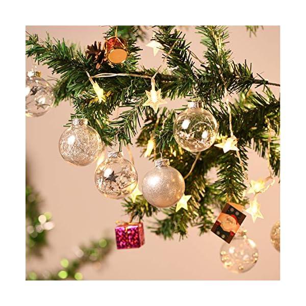 Joyjoz Decorazioni Albero di Natale Palline di Plastica, 6 cm di Diametro Palla di Natale Lucido riempita con Decorazioni Natalizi Raffinati Set 24 Pezzi 5 spesavip