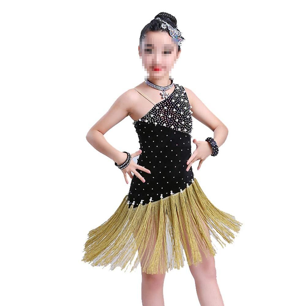 Dfghbn Mädchenkleider für Mädchen Flapper-Satin-Kostüm für Mädchen (Farbe   Schwarz Größe   160cm) Schwarz130cm
