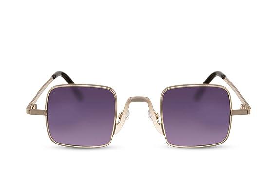 15ad8832d2 Cheapass Lunettes de soleil Carrées Petite Monture Dorée métal Verres  Violets Dégradés Hommes Femmes UV400
