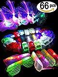 BUDI 66 Pcs Cool LED Light Up Toys Party Pack Toys- 50 LED Finger Beam Lights, 10 LED Peacock Finger Rings and 6 LED Shutter Shade Glasses Party Favors