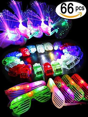 BUDI 66 Pcs Cool LED Light Up Toys Party Pack Toys- 50 LED Finger Beam Lights, 10 LED Peacock Finger Rings and 6 LED Shutter Shade Glasses Party Favors - Easy Masquerade Costume Ideas