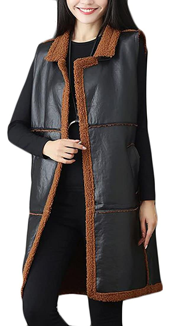FLCH+YIGE Womens Fashion Winter Faux Leather Lamb Wool Jacket Waistcoat Vest Camel /¾/ù/Â/ë