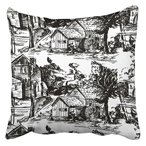 Emvency Decorative Throw Pillow Covers Cases Classic with Old Town Village Scenes Countryside Life in Toile De Jouy Landscapes Black and White 20X20 Inches Pillowcases Case Cover Cushion Two Sided