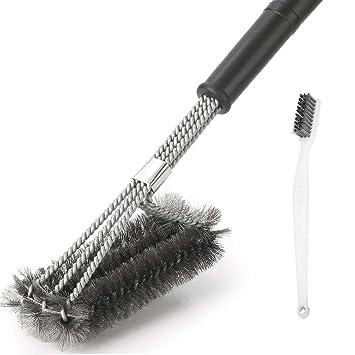 Cepillo limpiador para barbacoa, cepillo de cerdas de alambre de acero inoxidable de 45,