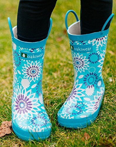 Oakiwear Kids Rubber Rain Boots with Easy-On Handles, Frozen Bursts, 2Y US Big Kid by Oakiwear (Image #5)