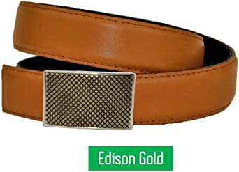 Clac Belt and accessory buckle included Magnetic technology Natural tan color Leather Belt /& Buckle No holes belt