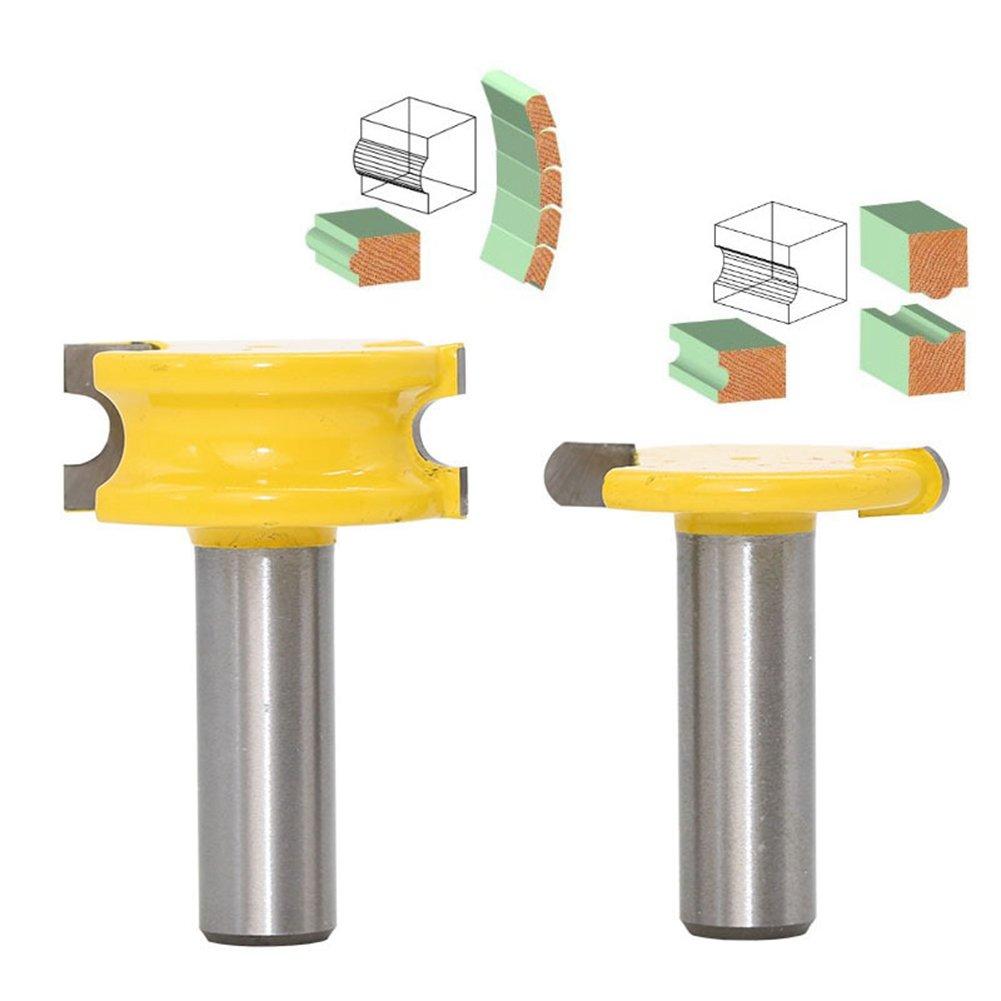 HOEN 2pcs/Set Router Bit 1/2' Shank 1/4' Diameter Canoe Flute and Bead Router Bit Sets for Woodworking Cutting Tool
