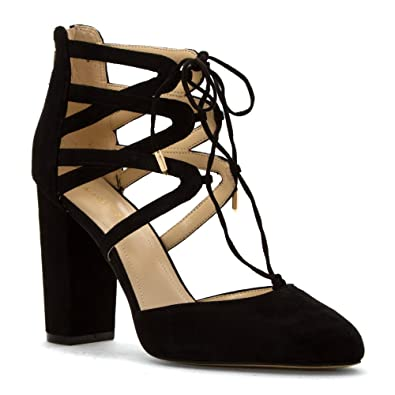 Marc Fisher Shellie Lace Up D'Orsay Heels - Black, ...