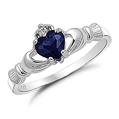 her new for sapphire product ring gold princess rings promise blue black couple