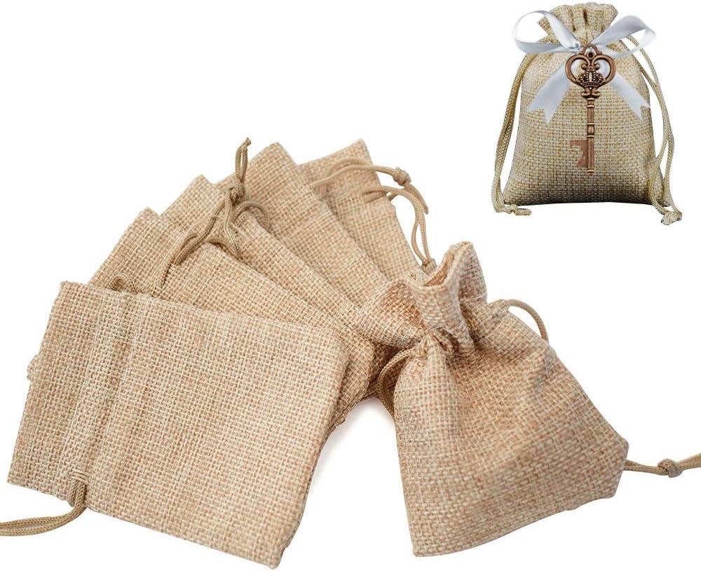Gudotra Acerca de 100pcs Bolsa de Lino con Cordón para Joyería Regalos Arroz Boda Navidad Bolsitas de Tela Saco