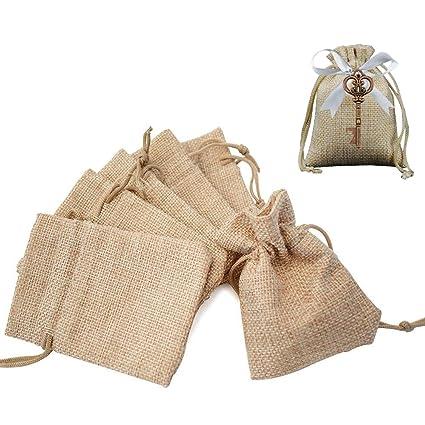 Gudotra Acerca de 100pcs Bolsa de Lino Arpilleria con Cordón para Joyería Regalitos Regalos Arroz Boda Navidad Bolsitas de Tela Saco