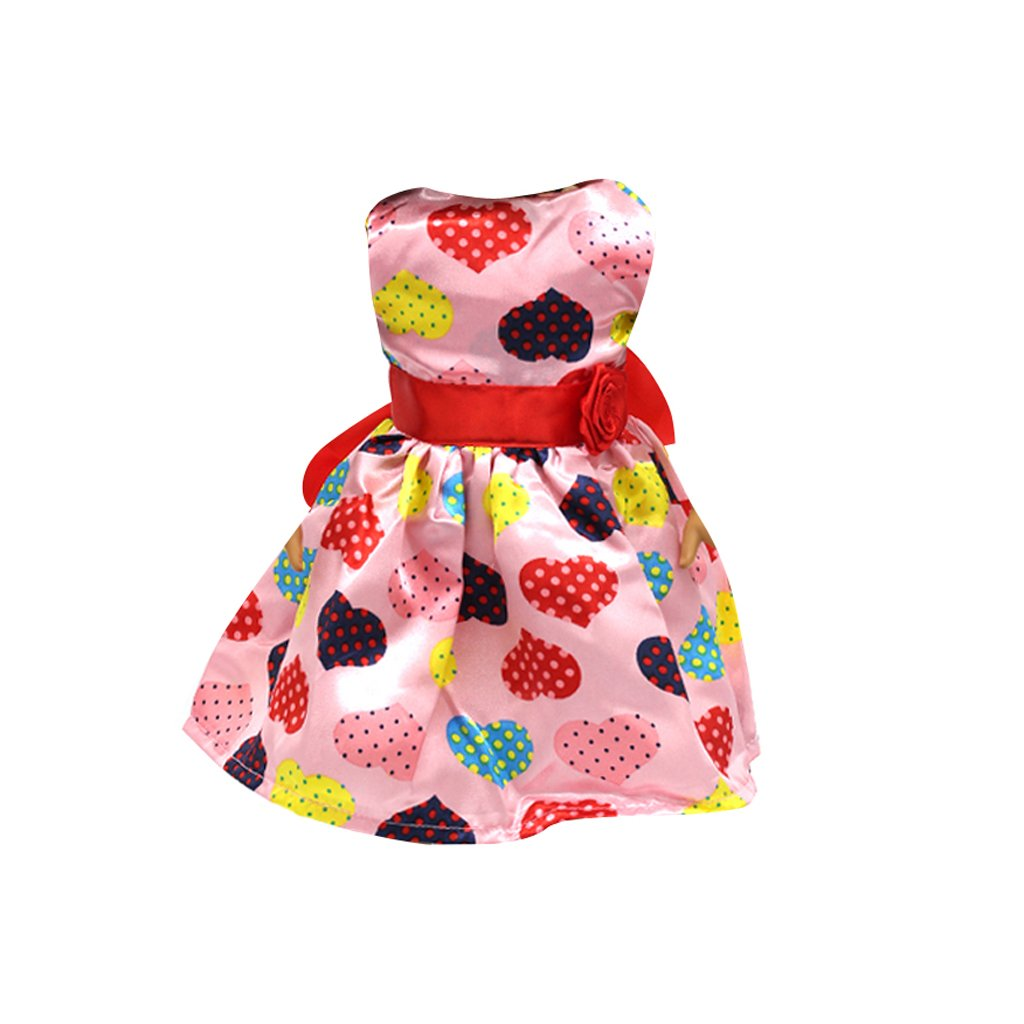 Fashion Heart Printed Sleeveless Party Dress for 18 Inch American Girl Doll Generic