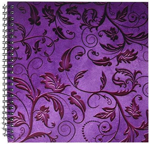 3dRose db_210993_1 Purple Embossed Foil Effect Flourish Pattern Drawing Book, 8 by (Purple Embossed Foil)