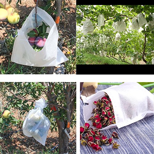 Frost Bag - Nature House 100pcs or 50pcs reusable food-grade fabric fruit protection bags, birds insect & frost barrier, prevent birds bugs flies, Easy install fruit protect bags(7.9