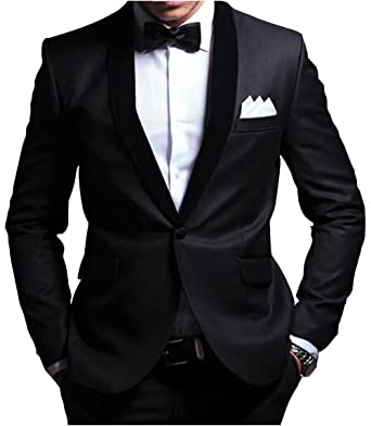 0365703d Lucky lover Black Slim Fit Men Suit Shawl Collar Suits One Button Tuxedos  at Amazon Men's Clothing store:
