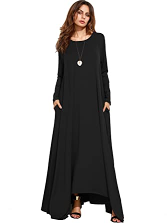 MakeMeChic Women's Long Sleeve Casual Loose Pocket Maxi Long Party ...