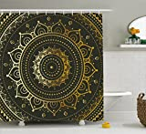 Gold Shower Curtain Ambesonne Gold Mandala Shower Curtain by, Large Circular Tribal Figure Ancient Spiritual Harmony Symbol Asian Art, Fabric Bathroom Decor Set with Hooks, 70 Inches, Gold Black Yellow