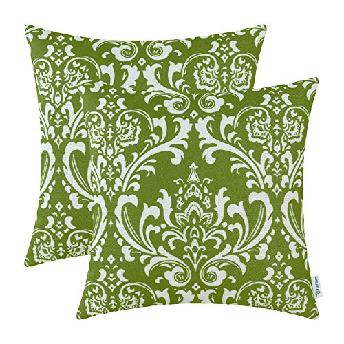 CaliTime Pack of 2 Soft Canvas Throw Pillow Covers Cases for Couch Sofa Home Decoration Vintage Solid Damask Floral 18 X 18 Inches Olive Green