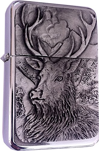 Chrome Star Lighter with Pewter Stag/Monarch Stag Emblem, Complete with Metal Gift Tin