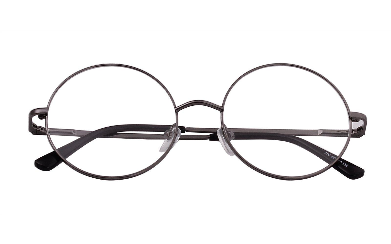 Agstum Retro Round Prescription ready Metal Eyeglasses Frame Clear Lens 51mm (X-Large Size) (Grey, 51)