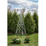 10 Ft Premium Aluminum Decorative Garden Windmill- Red Trim