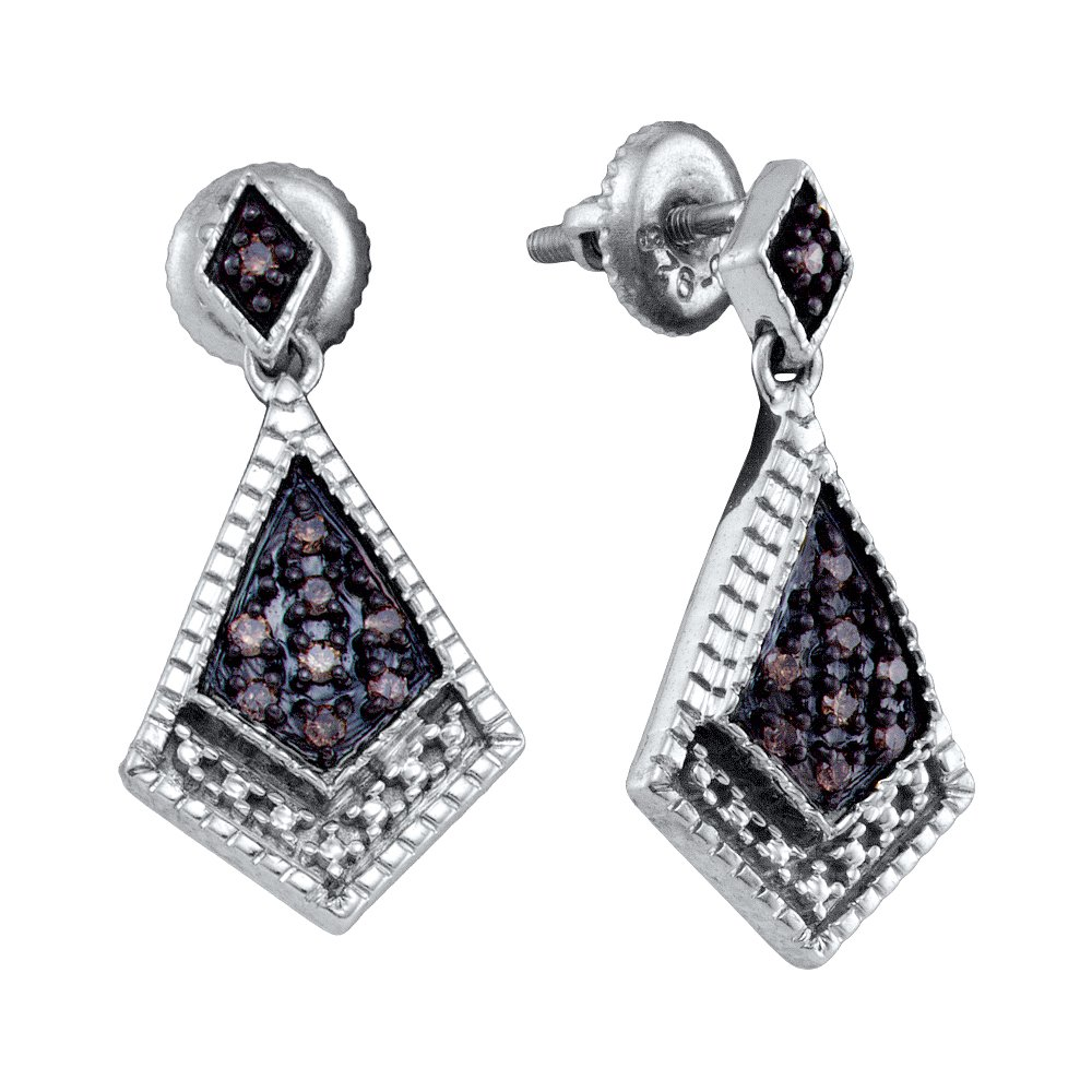 925 Sterling Silver Round Cut Chocolate Brown Diamond - Milgrain Prong Set Dangle Earrings with Secure Screw Back Closure - (1/5 cttw.)
