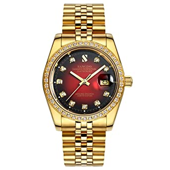 39c1183ab07 PASOY Men Red Face Full Gold Waterproof Sapphire Diamonds Srystal Stainless  Steel Band Date Watch