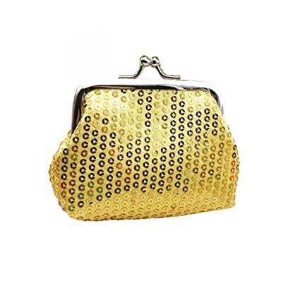 Miaomiaogo Womens Solid Color Small Sequin Wallet Card ...