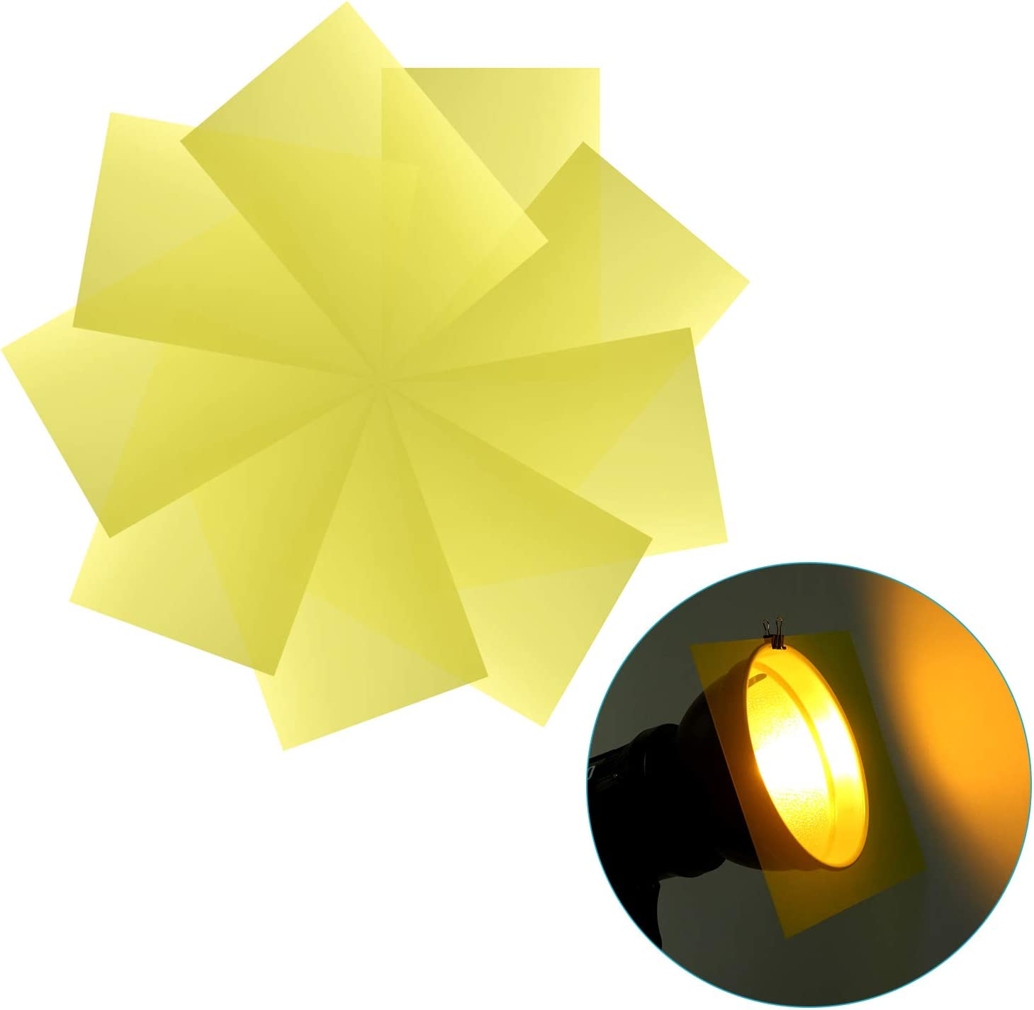 Colored Overlays LED Video Light Transparent Color Film Plastic Sheets Correction Gel Light Filter for Photo Studio Strobe Flash DJ Light 11.8x7.9 inches Neewer 9-Pack Gel Filter etc Yellow