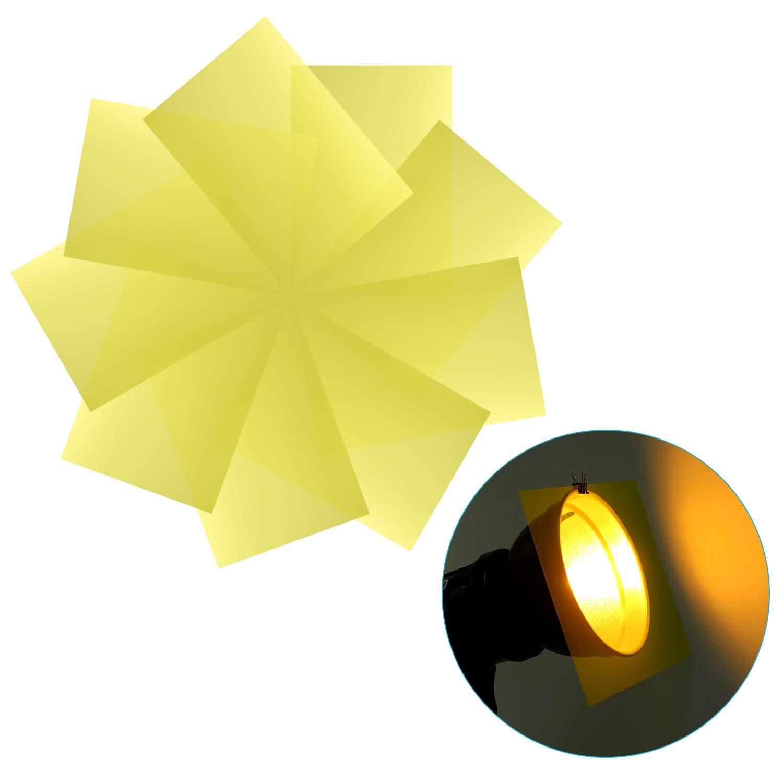 Hojas Pl/ástica de Pel/ícula de Color Transparente Neewer 9-Pack Gel Filtro Correction Gel Luz Filtro para Flash Capa de Color Rojo LED Video Luz 30x20cm