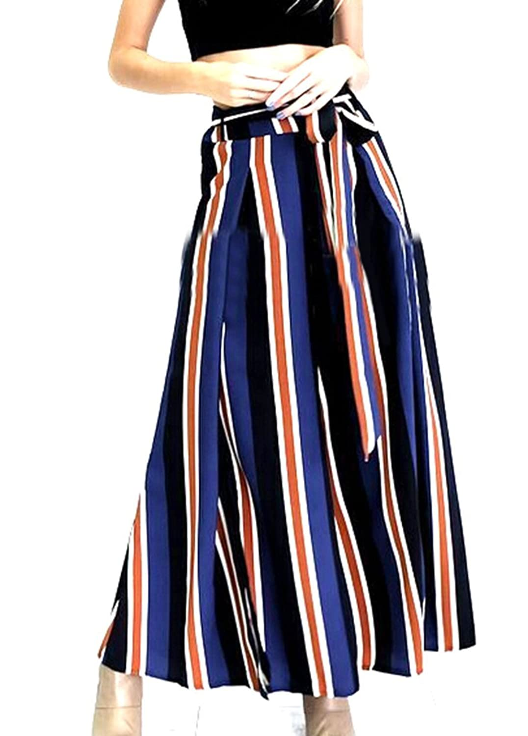 YUNY Womens Vouge Striped Casual Side Split Wide Leg Pants