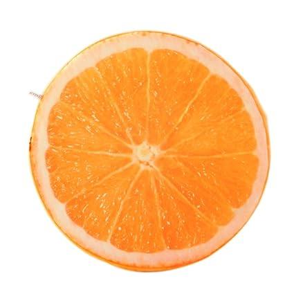 Suave Cojín redondas de cojín de peluche, naranja Sandía – Fruta Asiento juguete Asiento Acolchado